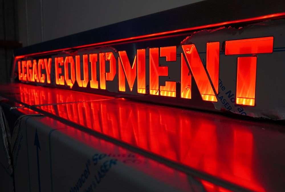 """Legacy Equipment"" Flat Headache Rack with 5 CABINETS & CUSTOM TEXT LIGHT BAR!"