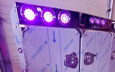 Angled Face Stainless Steel Enclosed Headache Rack with PURPLE LIGHTS! – Product Tour