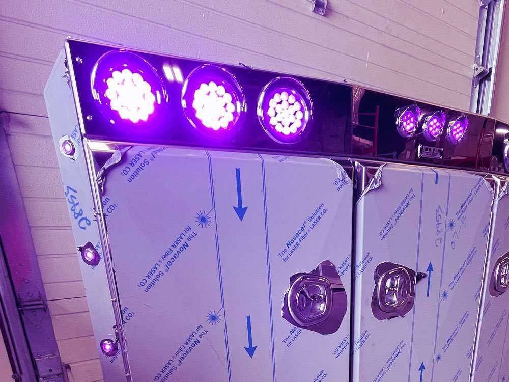 Angled Face Stainless Steel Headache Rack with Purple Lights