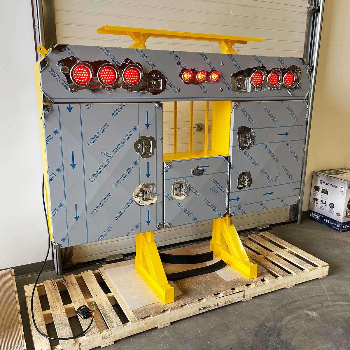 Yellow Enclosed Headache Rack with Stainless Steel Doors