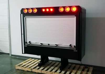 Black Enclosed Roll-Up Door Headache Rack with LED Lights