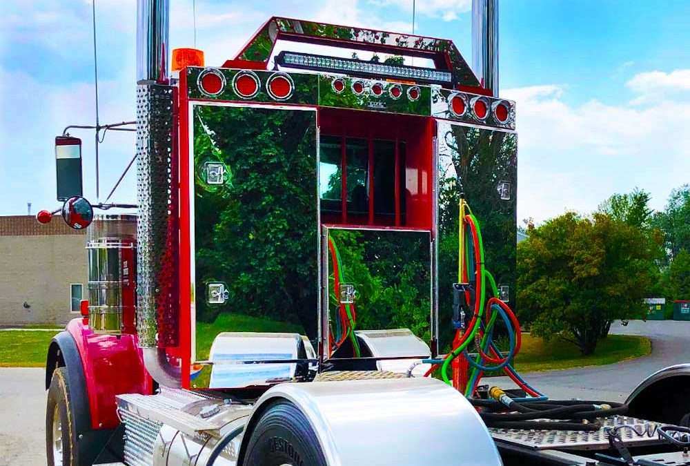 CUSTOM Angled Face Enclosed Headache Rack: Red w/ Mirror Finish Stainless Steel Doors Product Tour!